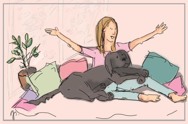 Frau sitzt mit ihrem Hund auf dem Sofa zur Verdeutlichung des Blogs über Gesprächstherapie