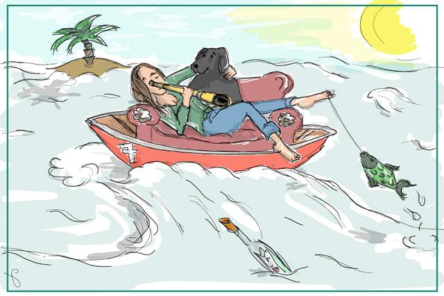 Das Bild zeigt eine Frau, die in einem Boot sitzt und mit einem Fernglas in die Ferne schaut - als BLogbild für Psychotherapie Bonn