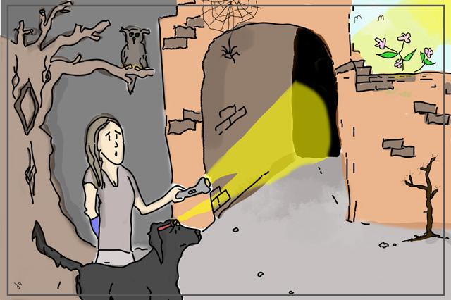 Bild zur Bedeutung der Gestalttherapie. Eine Frau zeigt mit einer Taschenlampe in einen dunklen Tunnel