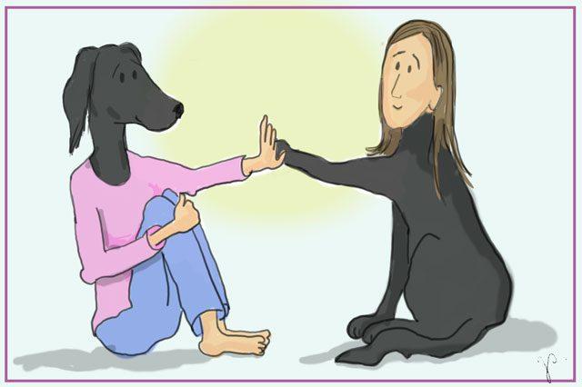 Das Bild zeigt eine Frau, die ihrem Hund gegenübersitzt. Die beiden schauen sich in die Augen. Es soll zeigen, wie wir uns im anderen wiedererkennen.